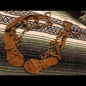 Knee high free people gladiator sandals